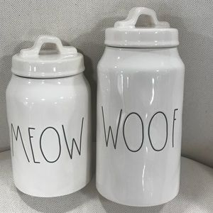 Rae dunn canisters set woof & meow